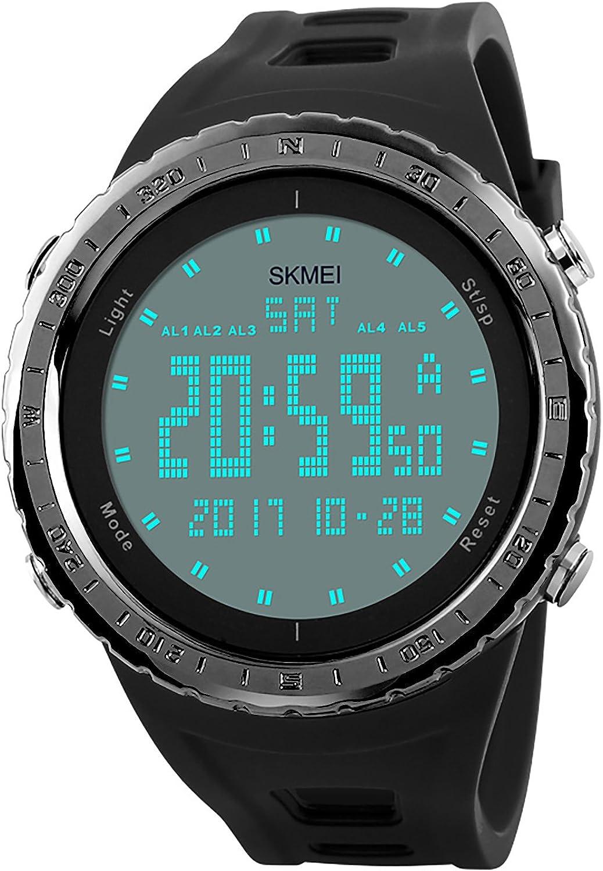 Reloj digital CIVO para hombre, resistente al agua 5 ATM, luz de fondo con LED, correa de goma negra