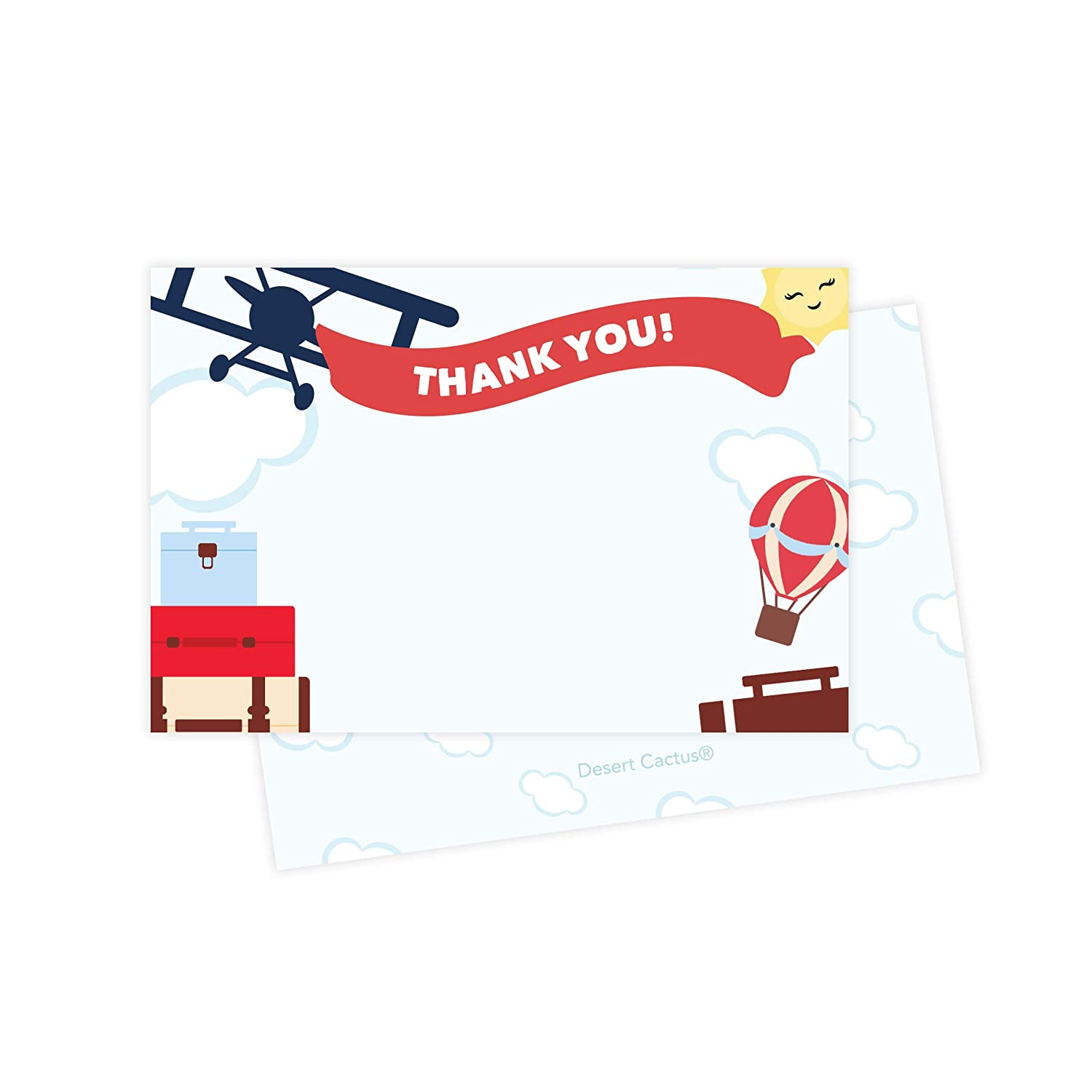 Airplane Thank You Cards 25 Count With Envelopes Seal Stickers Bulk Birthday Party Bridal Blank Graduation Kids Children Boy Girl