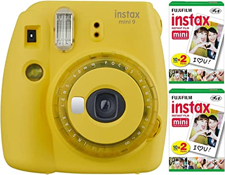 Fujifilm Instax Mini 9 Instant Camera Yellow With 2 X Instant Twin Film Pack 40 Exposures Bundle Electronics