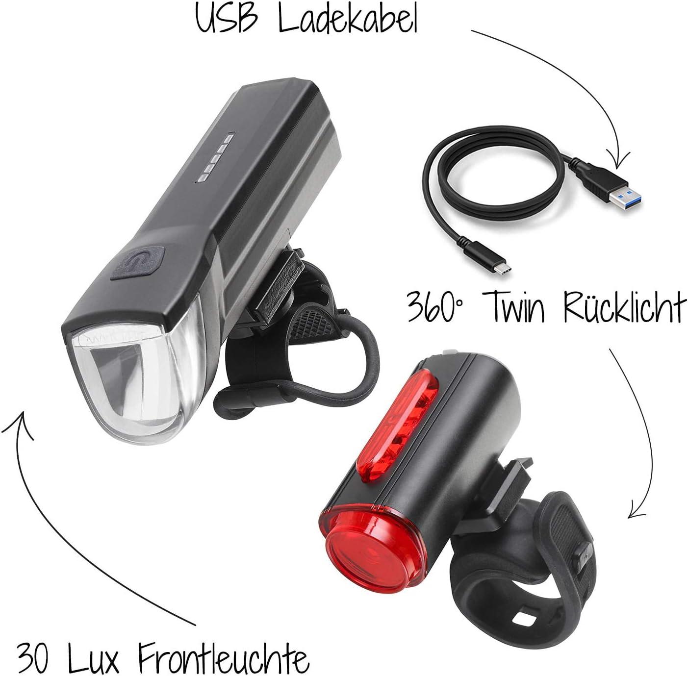 Fischer LED-Fahrradbeleuchtungs-Set (USB), mit 360° Bodenleuchte