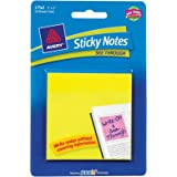 Avery Sticky Notes See-Through, 3 x 3 Inches, Yellow, 50 Sheets (22585)