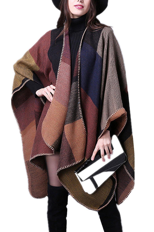 071fdcb45511 Beunique Femme Poncho Tricot Cape Ouverture Chaud Echarpe Mode Châle Automne  Hiver Mode