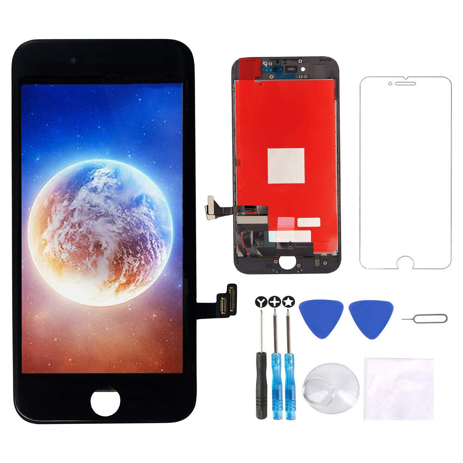 Screen Replacement for iPhone 8 Screen Black 4.7'' LCD 3D Touch Screen Digitizer Replacement Frame Display Assembly Set with Screen Protector and Repair Tools for iPhone 8 Screen Replacement Black by Gucloudy
