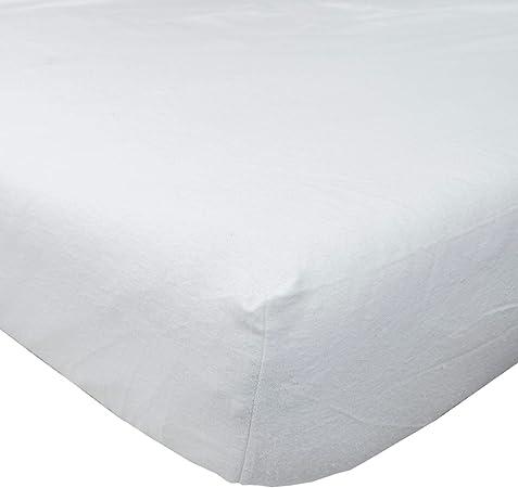 Homescapes Lujo Franela Blanco Cepillado algodón sábana Bajera ...