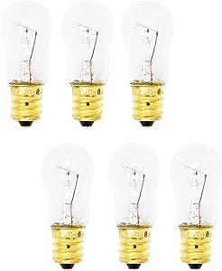 6 Replacement Light Bulbs for GE GSH25JSTASS, GE PSS26SGPASS, GE GSS23WSTASS, GE GSH25JSRFSS, GE GSH25JFTA BB, GE GSS25QSTASS, GE GSL25JFPABS, GE PSC23SGPASS, GE GSH22JSTASS, GE GSH25JFXBWW