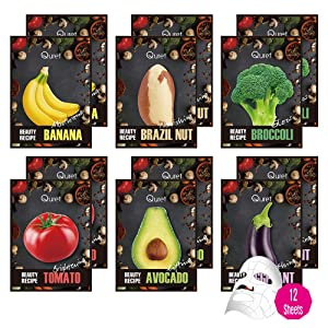 QURET Beauty Recipe Korean Facial Face Mask Sheet Series (12 Sheet Set), Superfood Skincare for Moisturizing and Nourishing, Vegan and Clean Beauty, Tencel Sheet