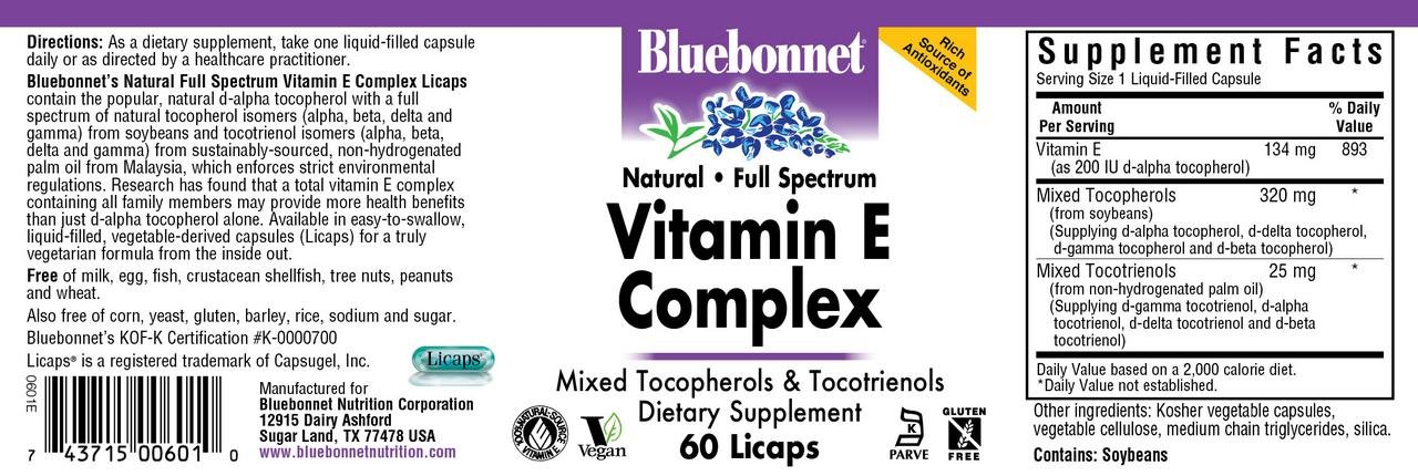 Bluebonnet Natural Full Spectrum Vitamin E Complex - 60 Licaps by Bluebonnet