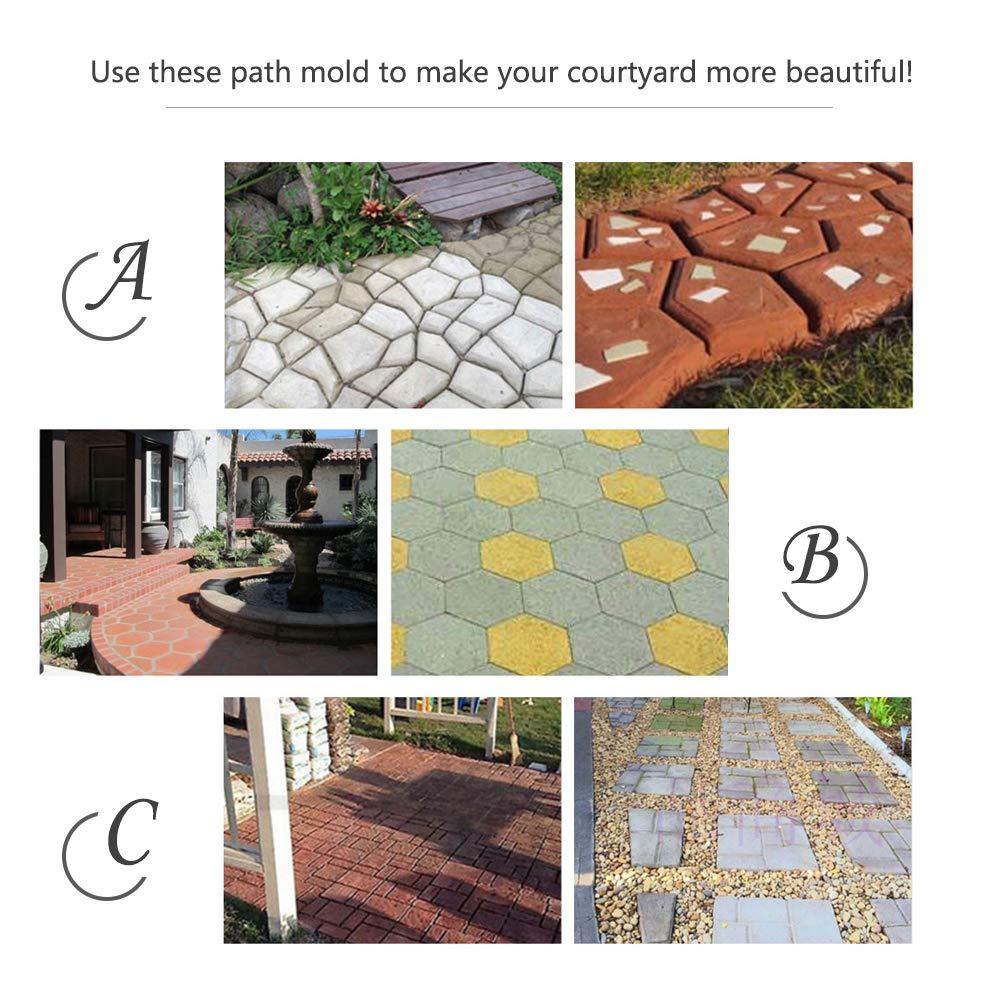 Cemento De Hormig/ón Reutilizable Dise/ño De Piedra Pavimentadora Walk Mold Garden Patio Driveway Pathmate Mold Molde Path Maker 29 * 28 * 4.4CM