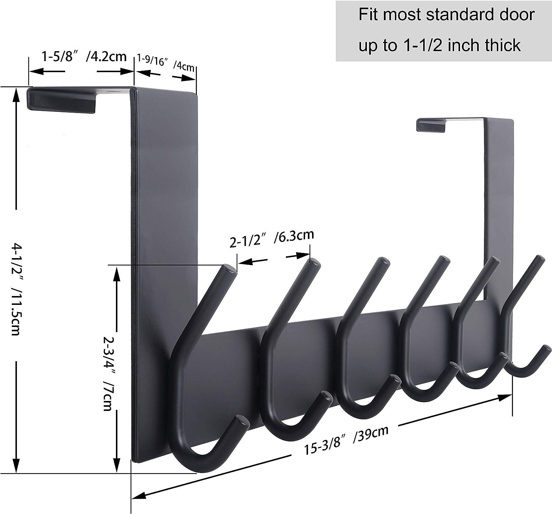 WEBI Over The Door Hook Door Hanger:Over The Door Towel Rack with 6 Coat Hooks for Hanging,Towel Hanger Door Coat Hanger Over Door Coat Rack for ...