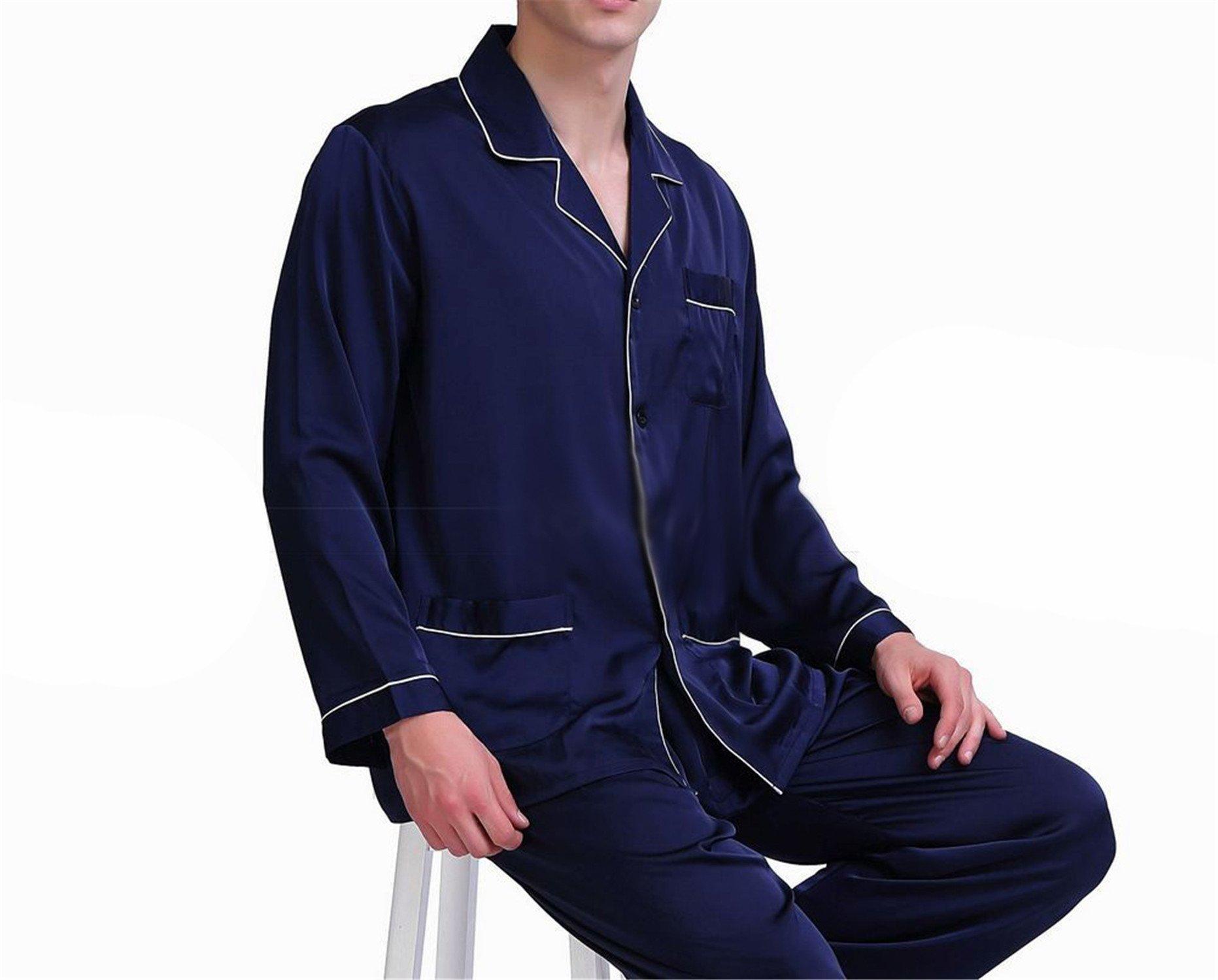 Susan1999 Mens Silk Satin Pajamas Set Sleepwear Loungewear S M L XL XXL XXXL 4XL Fits All Seasons Navy Blue XXXL