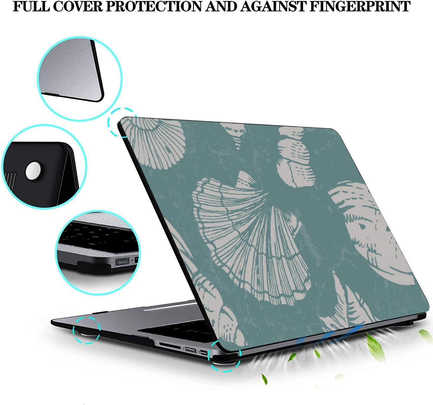MacBook Pro Screen Protector Summer Seaside Seashells Starfish Plastic Hard Shell Compatible Mac Air 11 Pro 13 15 MacBook Accessories Case Protection for MacBook 2016-2019 Version