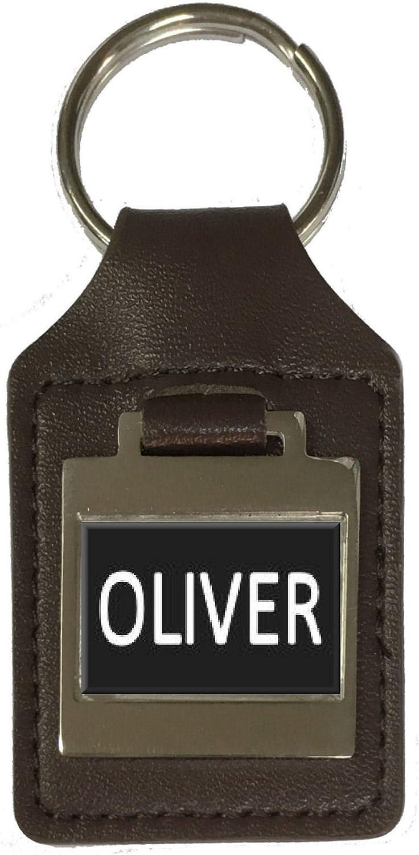 Oliver Leather Keyring Birthday Name Optional Engraving