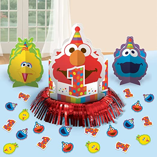 Sesame Street 1st Birthday Elmo Turns One Table Decorating Kit