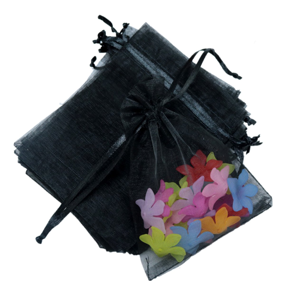 E Support 100Pcs Organza Pouches Tulle Sheer Drawstring For Jewelry Candy Wedding Party Christmas Favor Gift Bags 5.11x7.08 (Black)