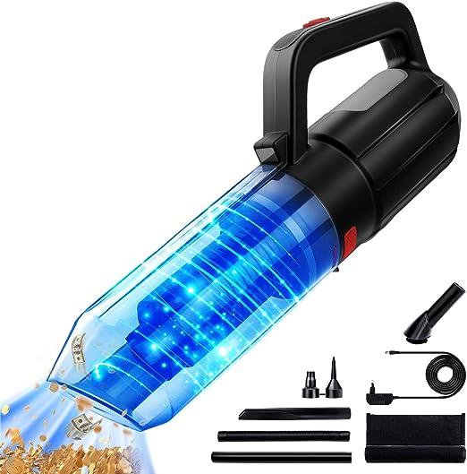 Aspiradora de Mano Sin Cable Potente 9000PA/120W, con Luz LED, 2600mAh Batería Aspirador de Coche(Mojado y Seco, Lnflable y Soplado de Polvo, Ruido Bajo 70db, Carga Rápida, Filtro Reutilizable Hodekt: Amazon.es: Hogar