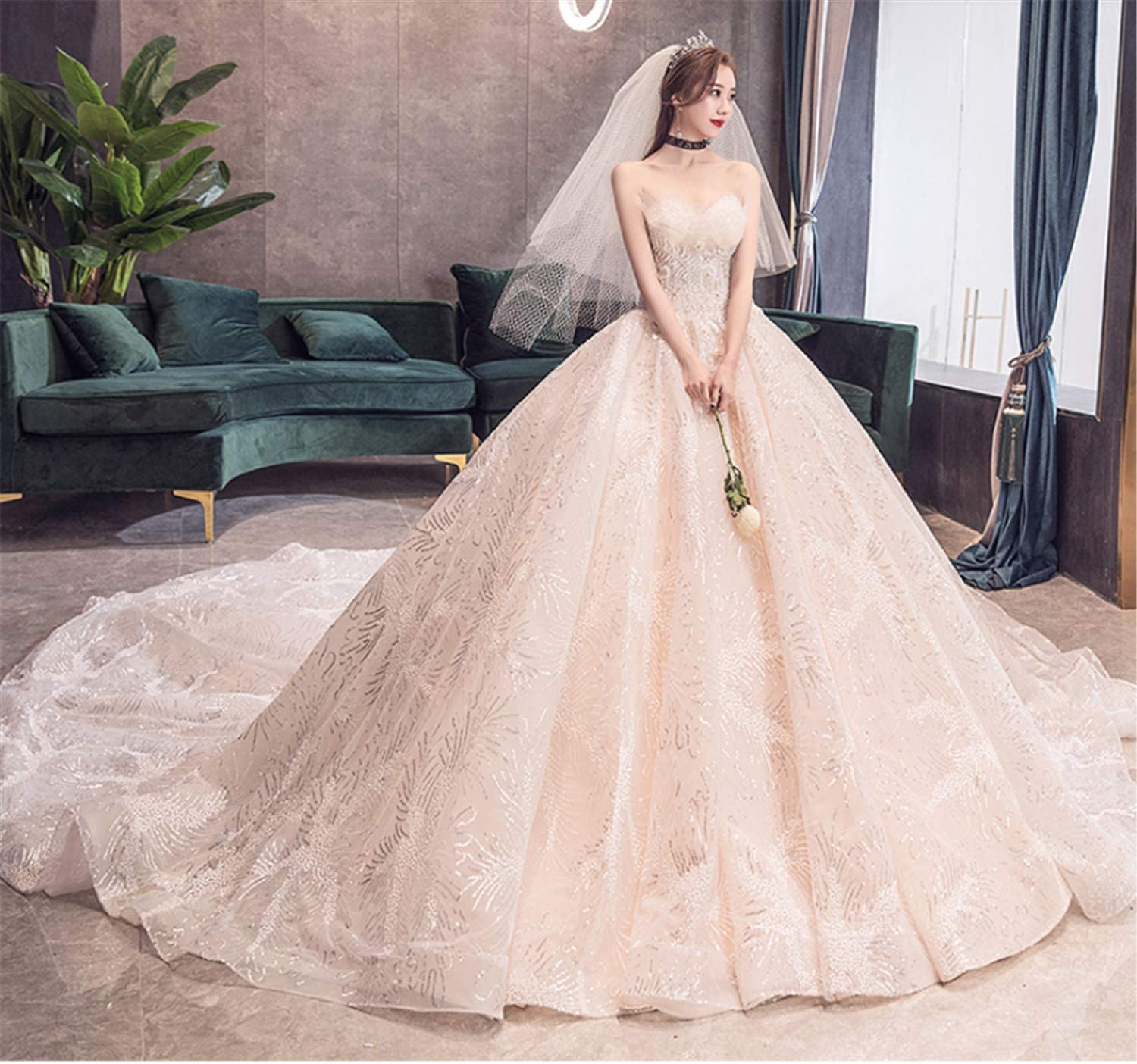 Amazon Com Bianjesus Lace Wedding Dress Cap Sleeves Beaded Corset Keyhole Backless Wedding Gowns Court Train Oversize Bridal Gowns Champagne Sports Outdoors