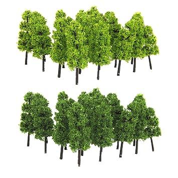 Forest Greenery Plants HO N Gauge Building Park Garden Miniature Landscape Wargame Scenery Supplies 20pcs Plastic Model Fir Tree