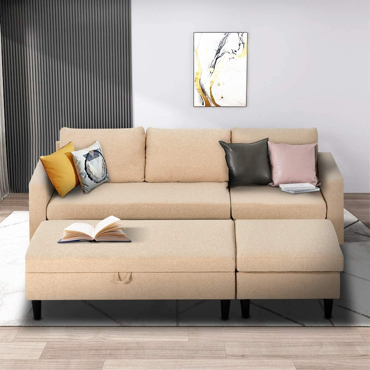 Amazon.com: Esright Small Sectional Sofa With Storage Ottoman And Chaise Lounge, 3-Seat Fabric Living Room Furniture Sets, L-Shape Couch Sofa For Small Apartment, Living Room, Beige White: Furniture & Decor