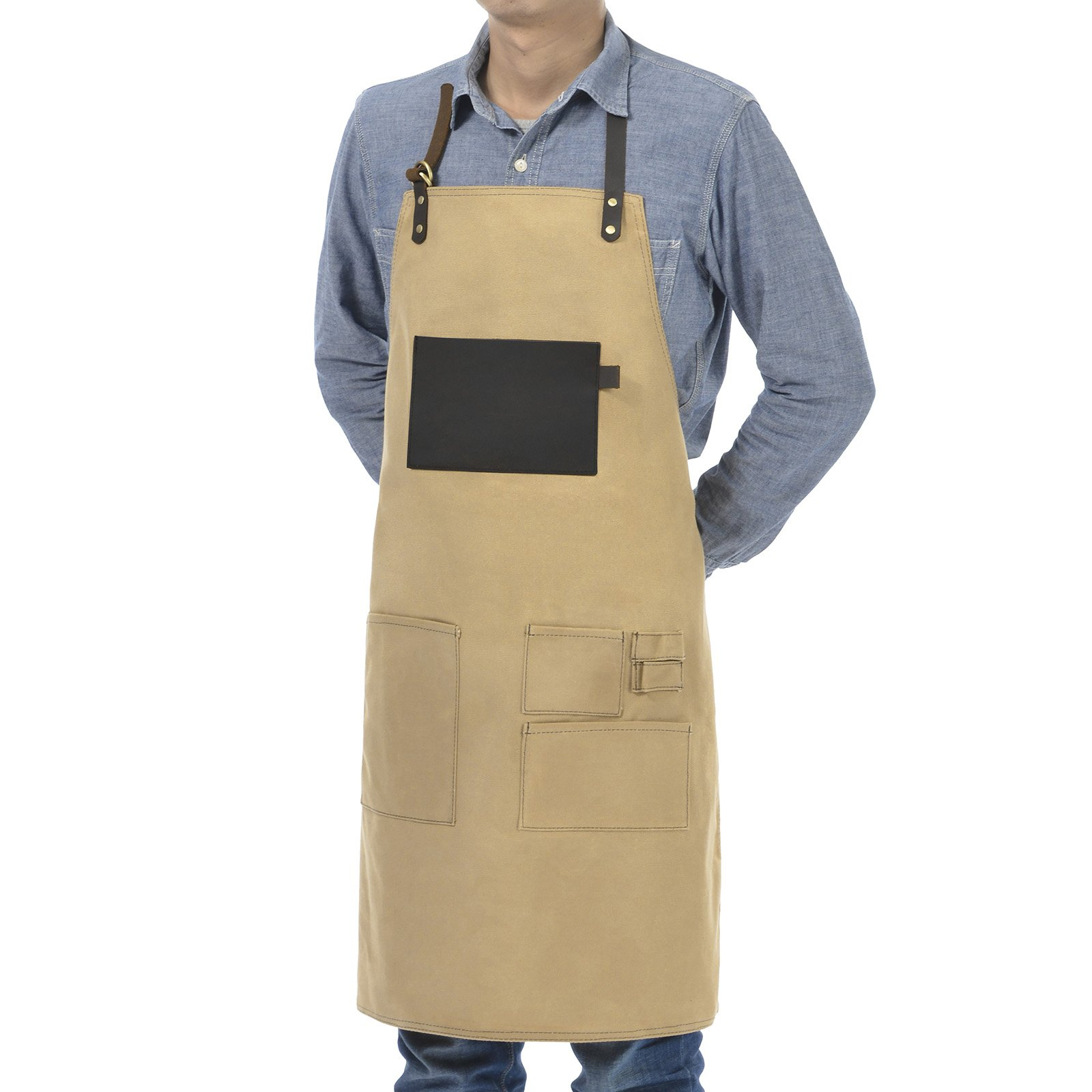 VEEYOO Heavy Duty Waxed Canvas Utility Apron with Pockets, Adjustable Shop Work Tool Welding Apron for Men and Women, Tan, 27x34 inches by VEEYOO (Image #3)