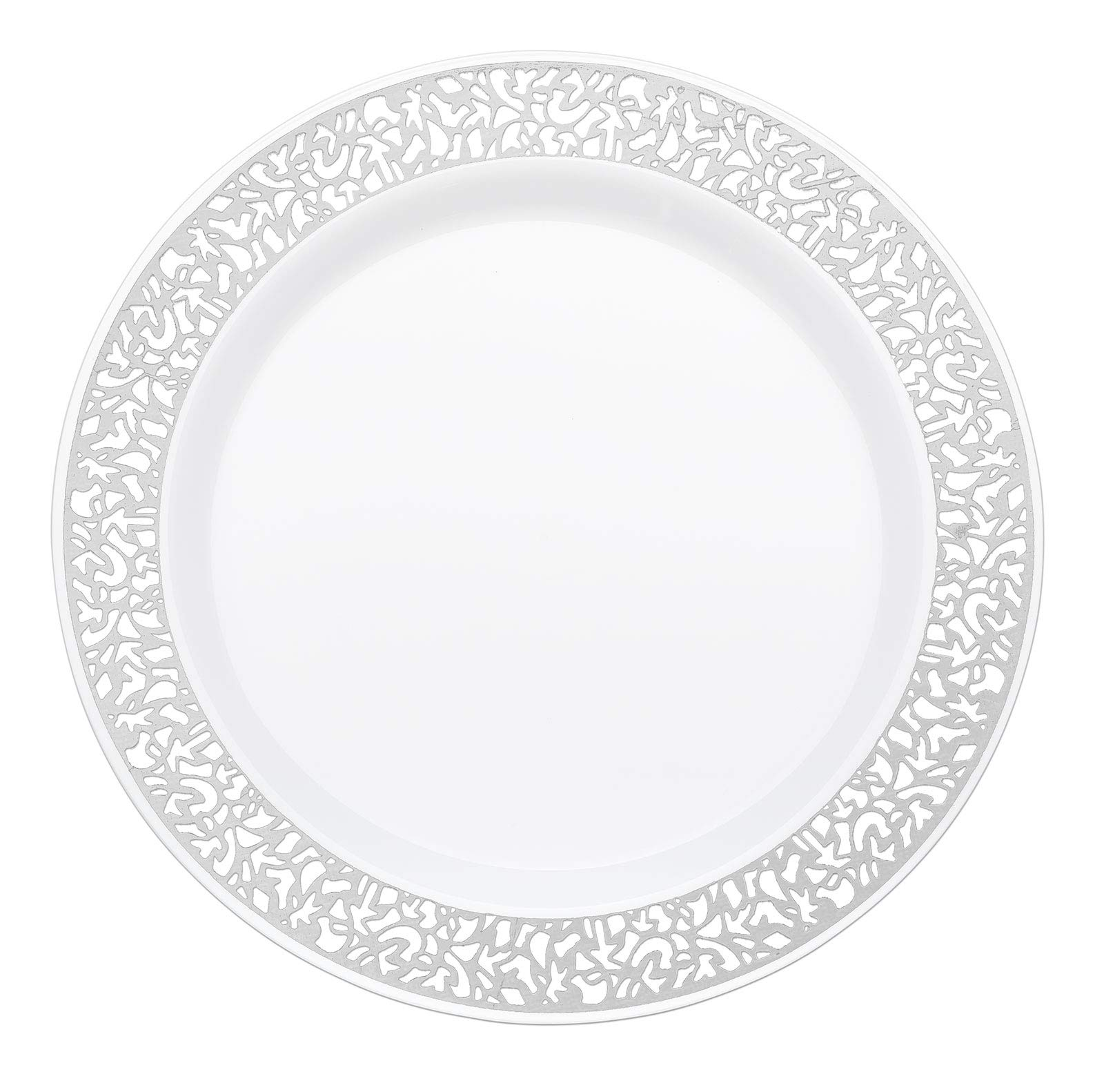 Your Gatherings - 606pc/100 Guest Silver Premium Disposable Wedding Dinnerware Set | 100 Dinner Plates, 100 Dessert Plates, 200 Forks, 100 Spoons, 100 Knives, (100 Guest Set, Silver) by Your Gatherings (Image #4)
