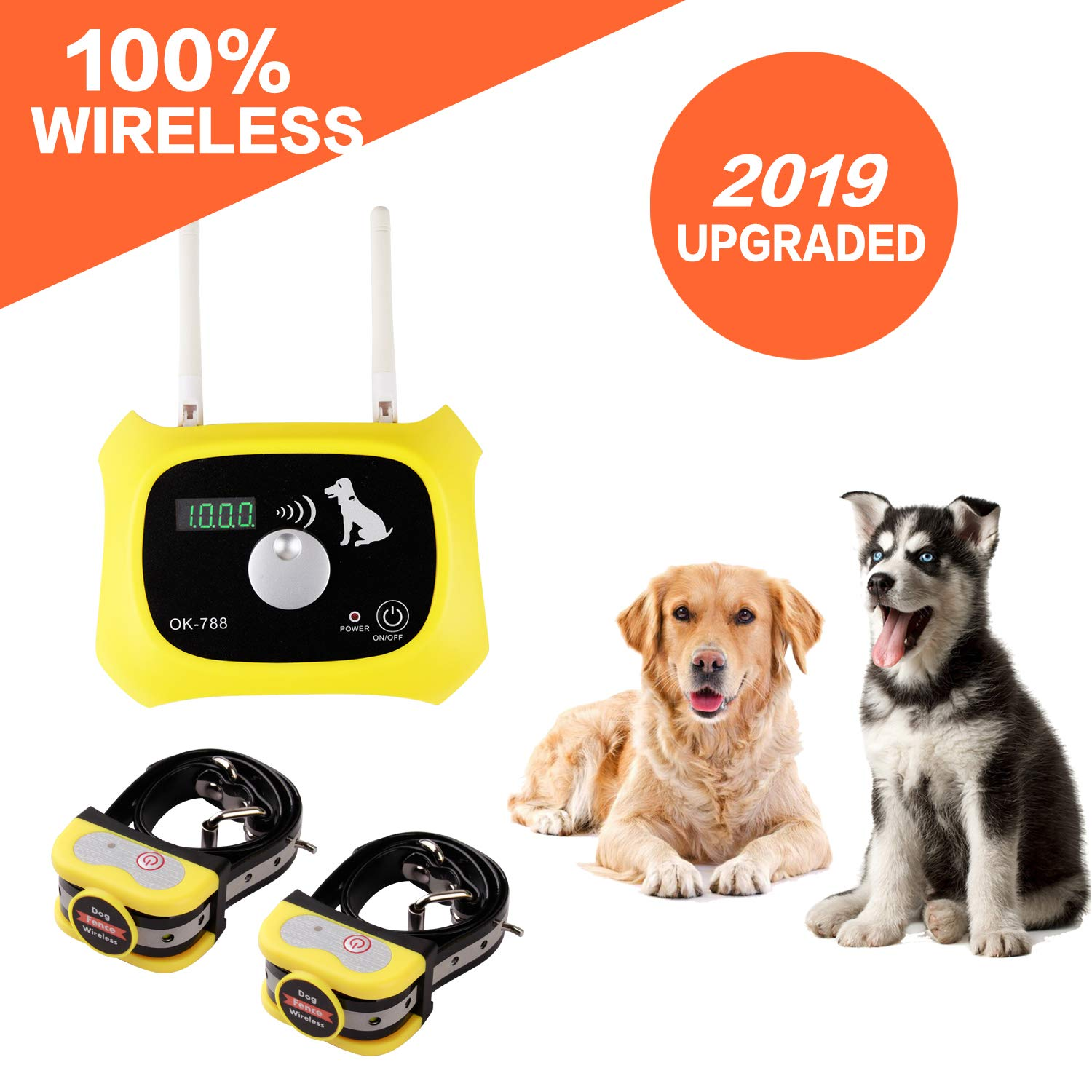 Wireless Dog Fence Electric Pet Containment System, Safe Effective Anti Over Shock Fence, Adjustable Control Range Up to 1000 Feet & Display Distance, Rechargeable Waterproof Collar (2 Dog System) by JUSTSTART