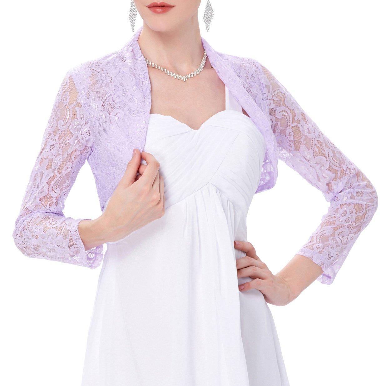 Women's Long Sleeve Floral Shrug Crop Jackets for Dress (L, Purple)