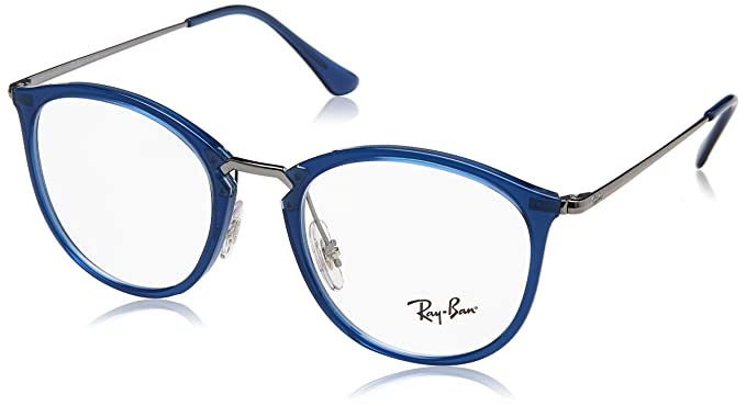 75c78591cd Image Unavailable. Image not available for. Color  Ray-Ban Unisex RX7140  Eyeglasses Trasparent Blue 51mm