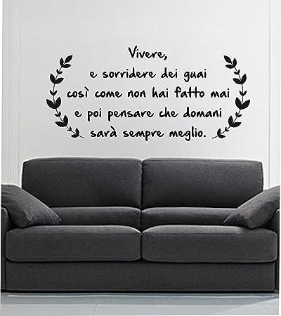 Adesivi Murali Vasco Rossi.Adesivo Murale Wall Sticker Vivere E Sorridere Dei Guai By