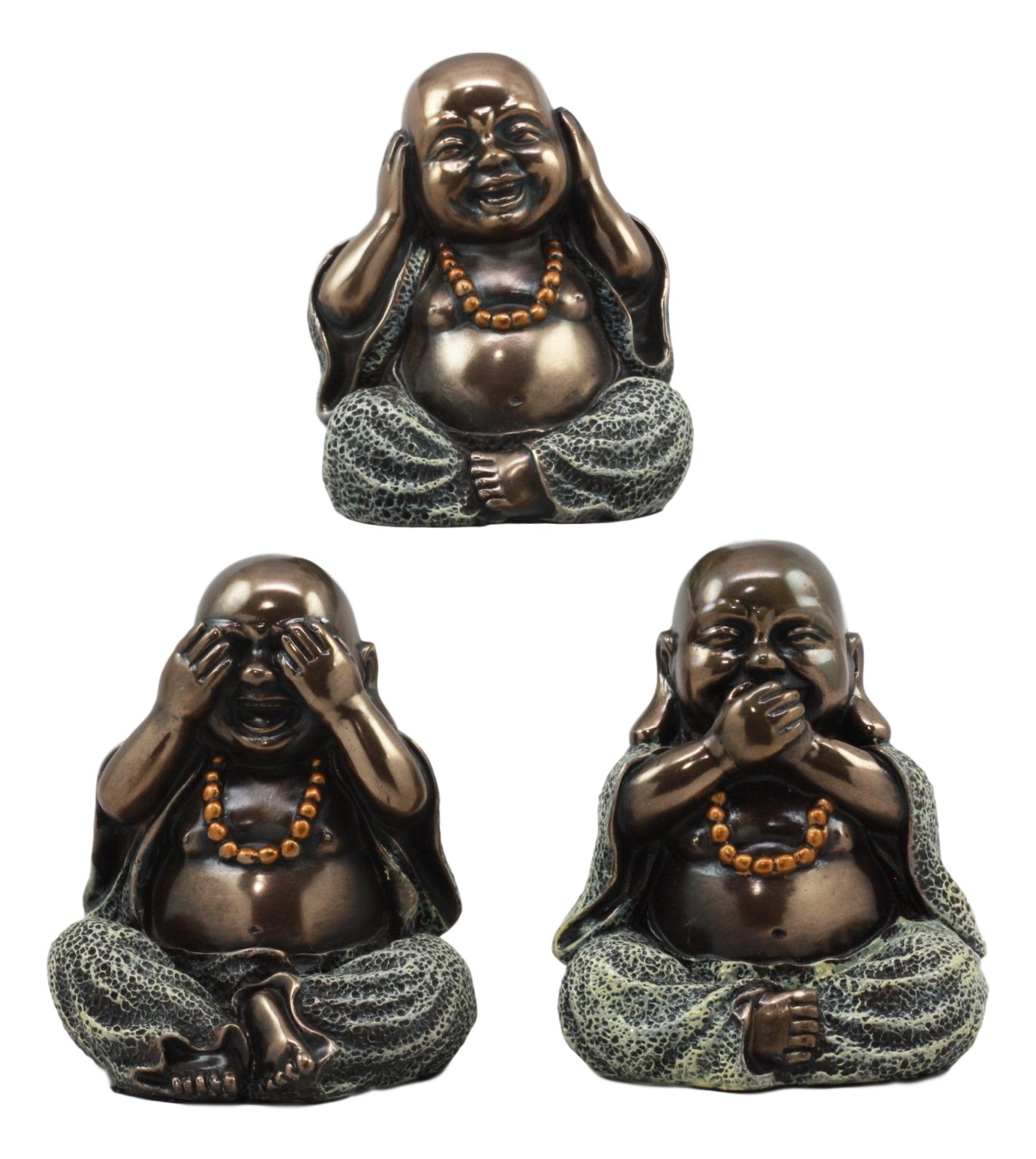 Ebros Small Charm Wise See Hear Speak No Evil Lucky Buddha Statues 4''Tall Bodhisattva Eastern Enlightenment Hotei Figurines by Ebros Gift