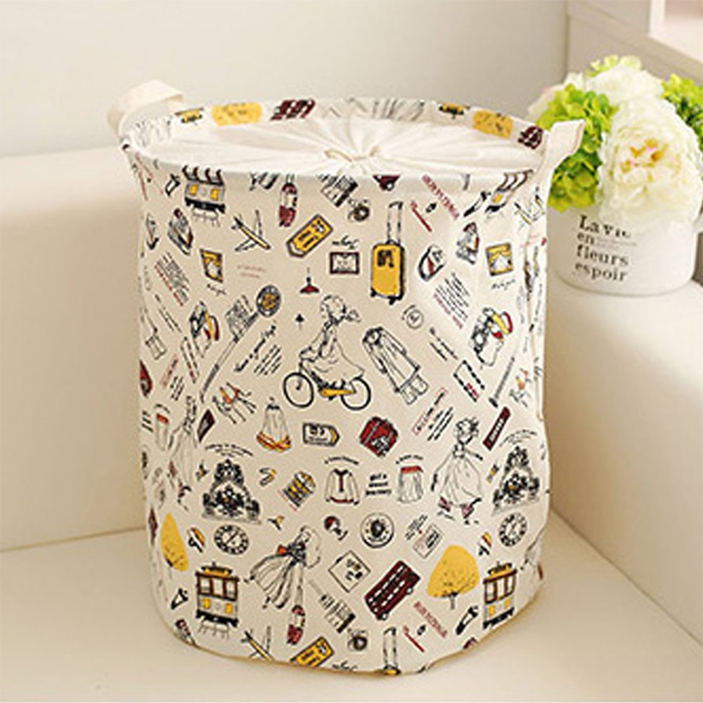 COKOSIM High Capacity 45L Fabric Folding Laundry Hamper Waterproof Storage Basket Bucket for Dirty Clothes / Bath Towel / Kids Toy Bathroom Accessories with Handles (35 x 45 cm)