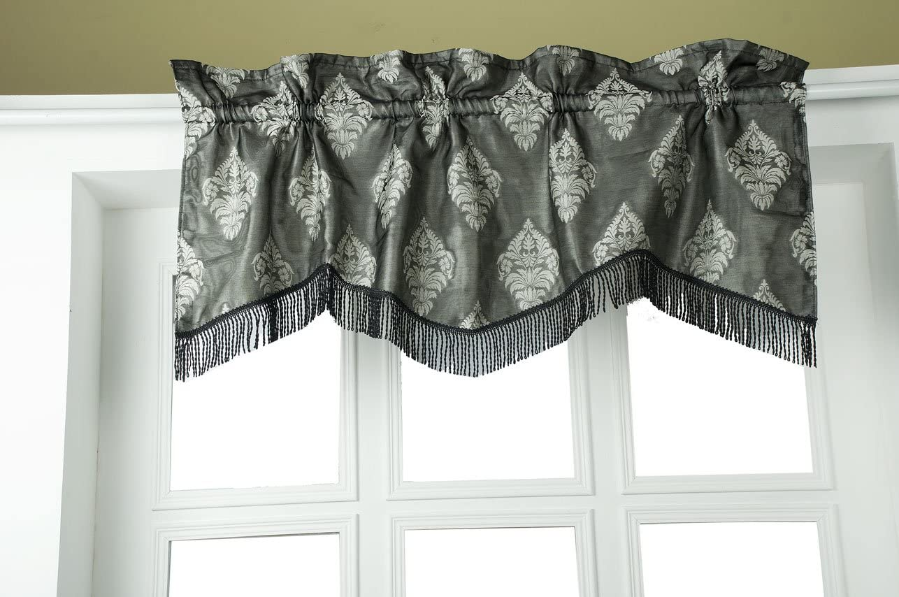 The Silk Cocoon Black Silver Design Woven Fabric with Fringed lace Trim Scalloped 50 Wide and 18 Drop Faux Silk Kitchen Living Room Window Valance