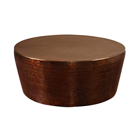 Amazoncom Hand Hammered Copper Bronze Iron Coffee Table Round - Copper drum coffee table