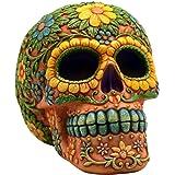 Orange Day of the Dead Sugar Skull Coin Bank Mexican Dia De Los Muertos New