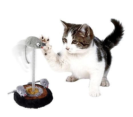 15971 Juego para gatos 14,5 x 26 cm base rascador de felpa ratones oscilante