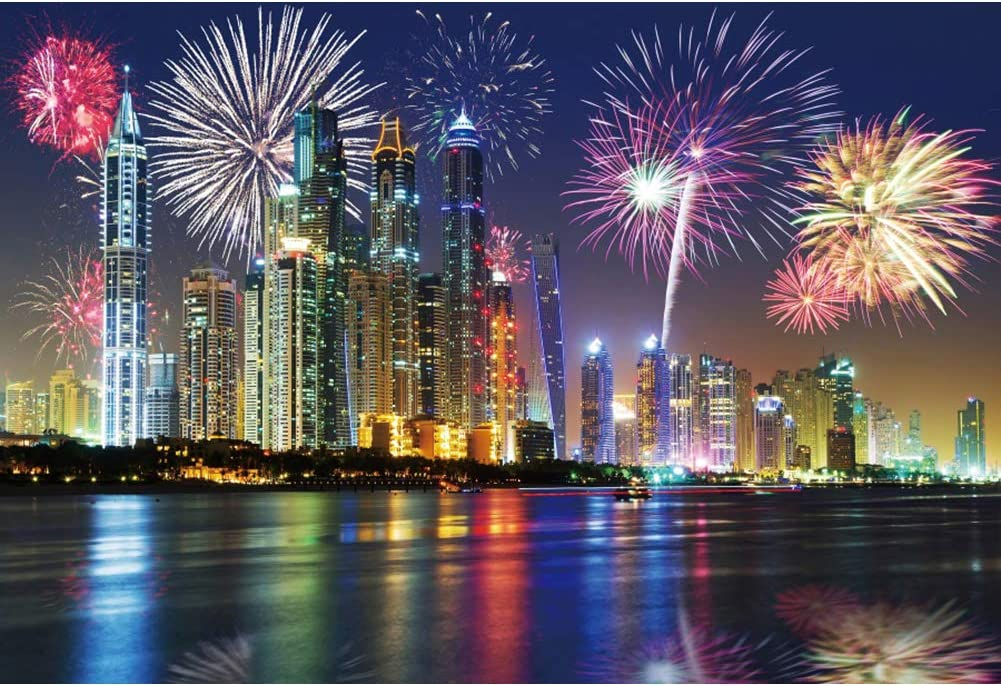 Haoyiyi 10x8ft New Years Backdrop Dubai Grandiose Shining Bokeh Fireworks City Night Background Photography Photo Adult Baby Engagement Indoor Outdoor Anniversary Pictures Decor Shooting