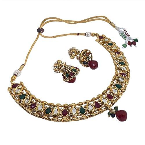 96b425bd24bc1 Buy Vendee fashion Choker Style Pearl, Beade &, Drop Necklace Set ...