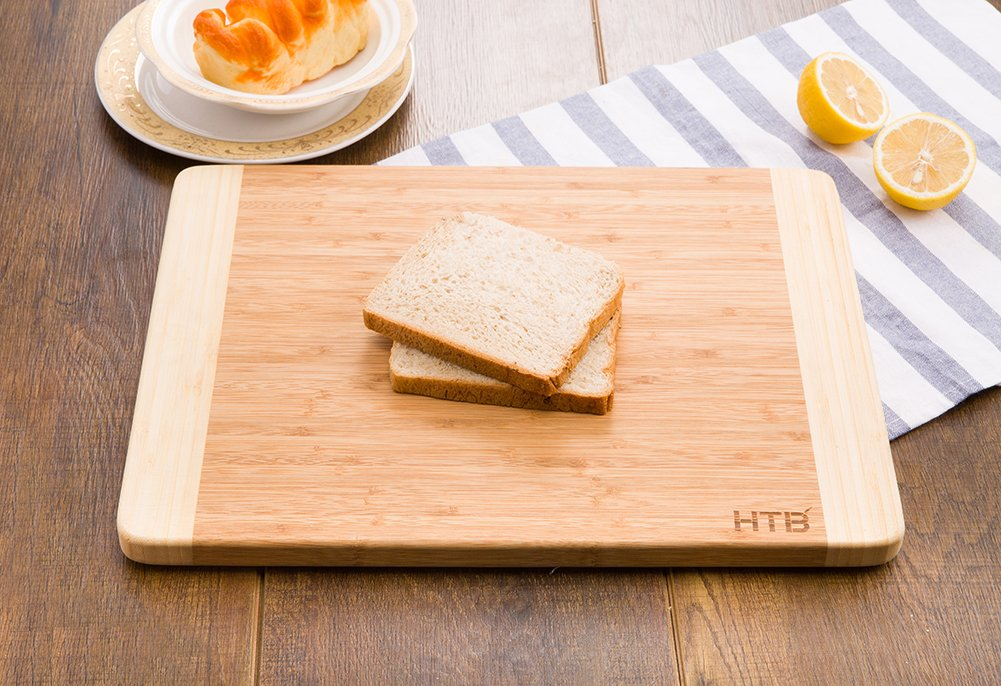 HTB 100% Bamboo Cutting Board,Thick Bamboo For Food Prep, Making Cocktails or Serving Appetizers 03L by HTB (Image #3)