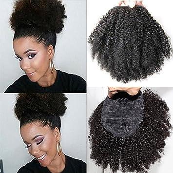 Amazon Com Wrap Drawstring Short Afro Kinky Curly Human Hair Puff