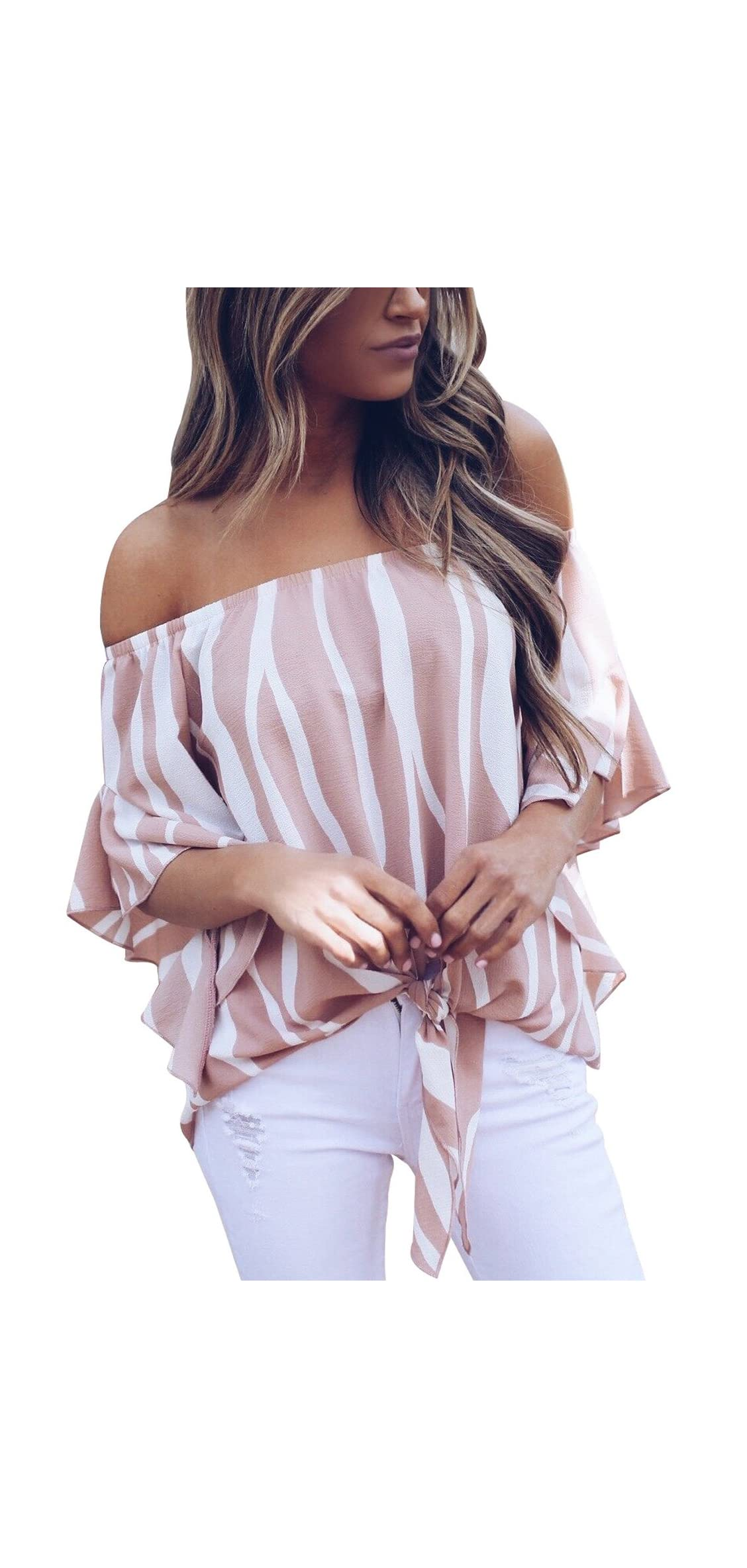 Womens Striped Off The Shoulder Tops   Flare Sleeve