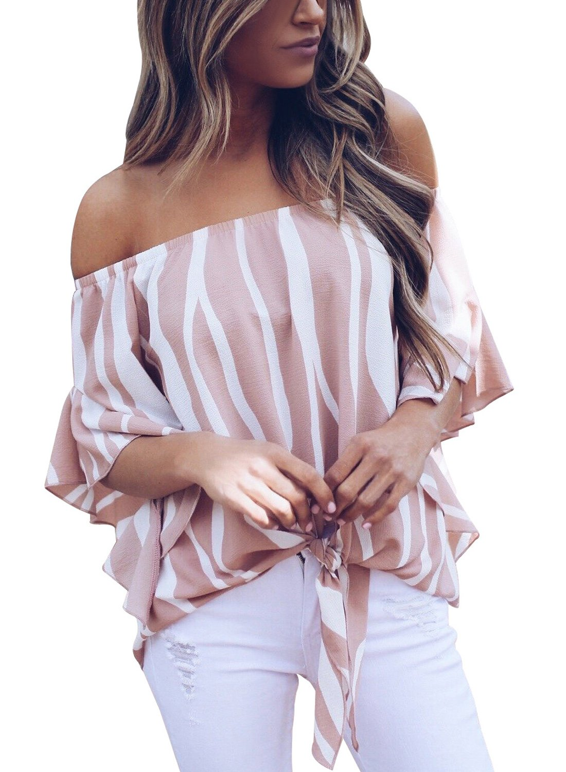 FARYSAYS Women's Striped 3/4 Bell Sleeve Off The Shoulder Front Tie Knot T Shirt Tops Blouse Pink Medium