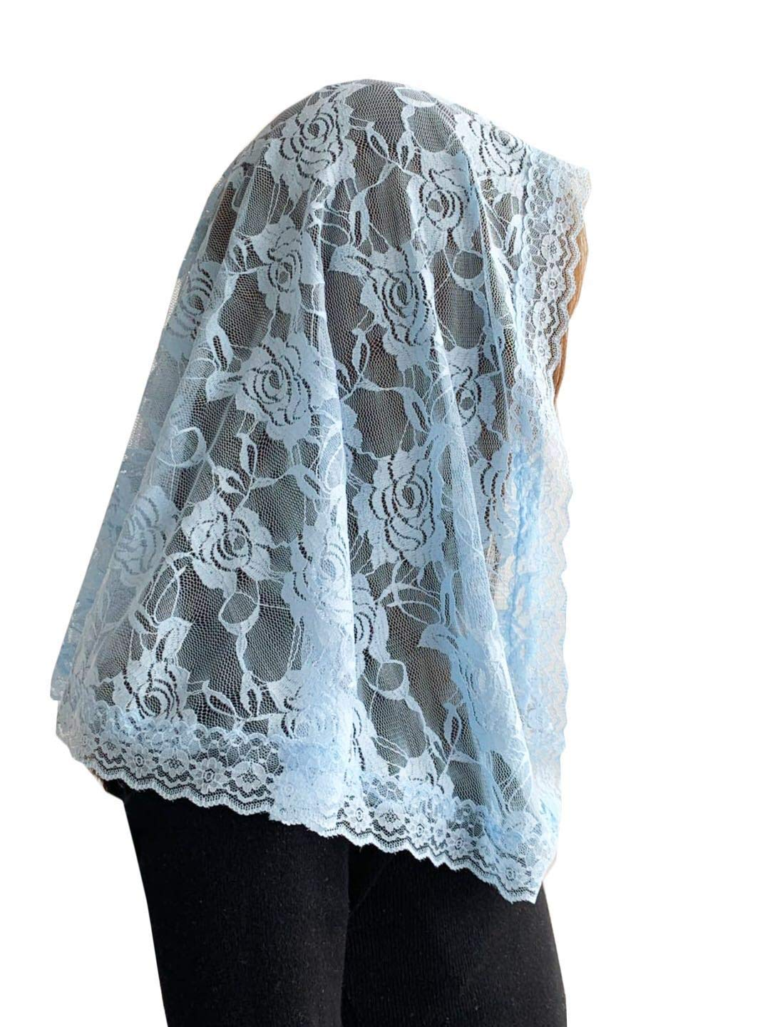 Veil Lace Mantilla Catholic Church Chapel Veil Head Covering Latin Mass (Blue) by Czy accessories (Image #2)