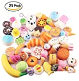 Sambombs Kawaii Jumbo Squishies Slow Rising Medium Mini Soft Squishy Toys Phone Straps-Random 25pcs Package