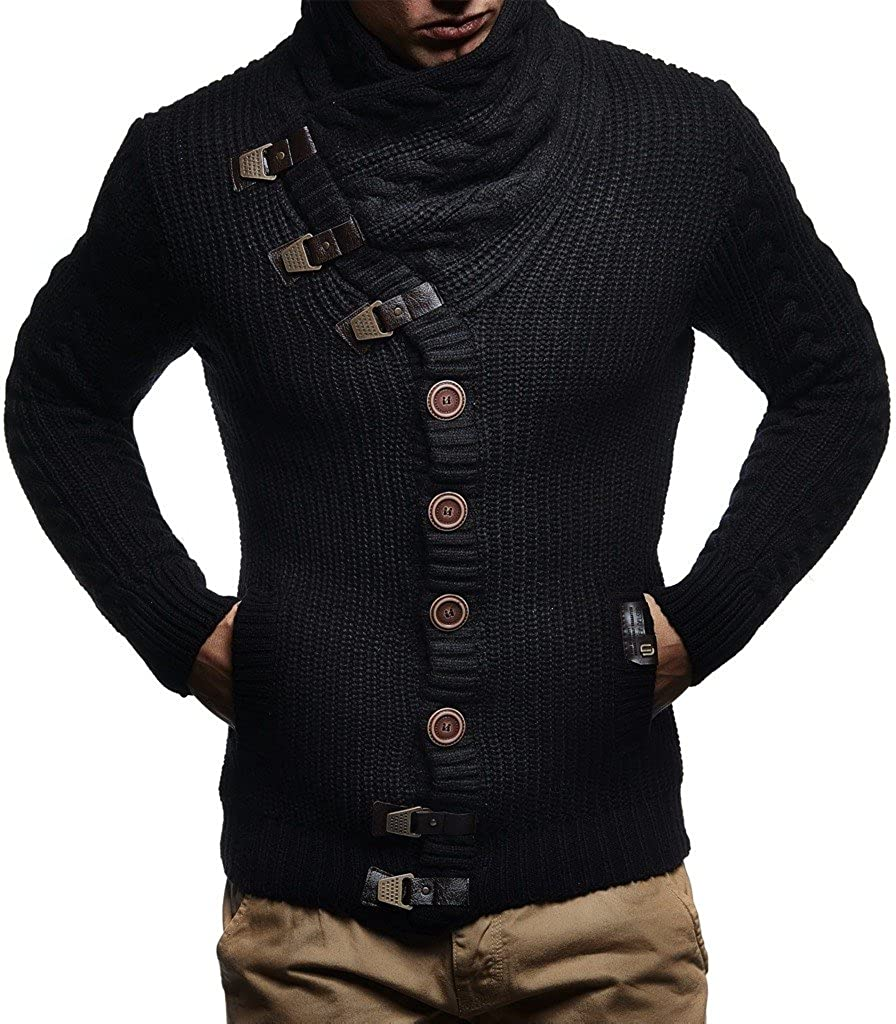 Leif Nelson Mens Knit Cardigan with Turtle Neck LN7080