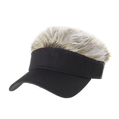 WITHMOONS Flair Hair Sun Visor Cap with Fake Hair Wig Novelty KR1588 (Black) 867f39d6696
