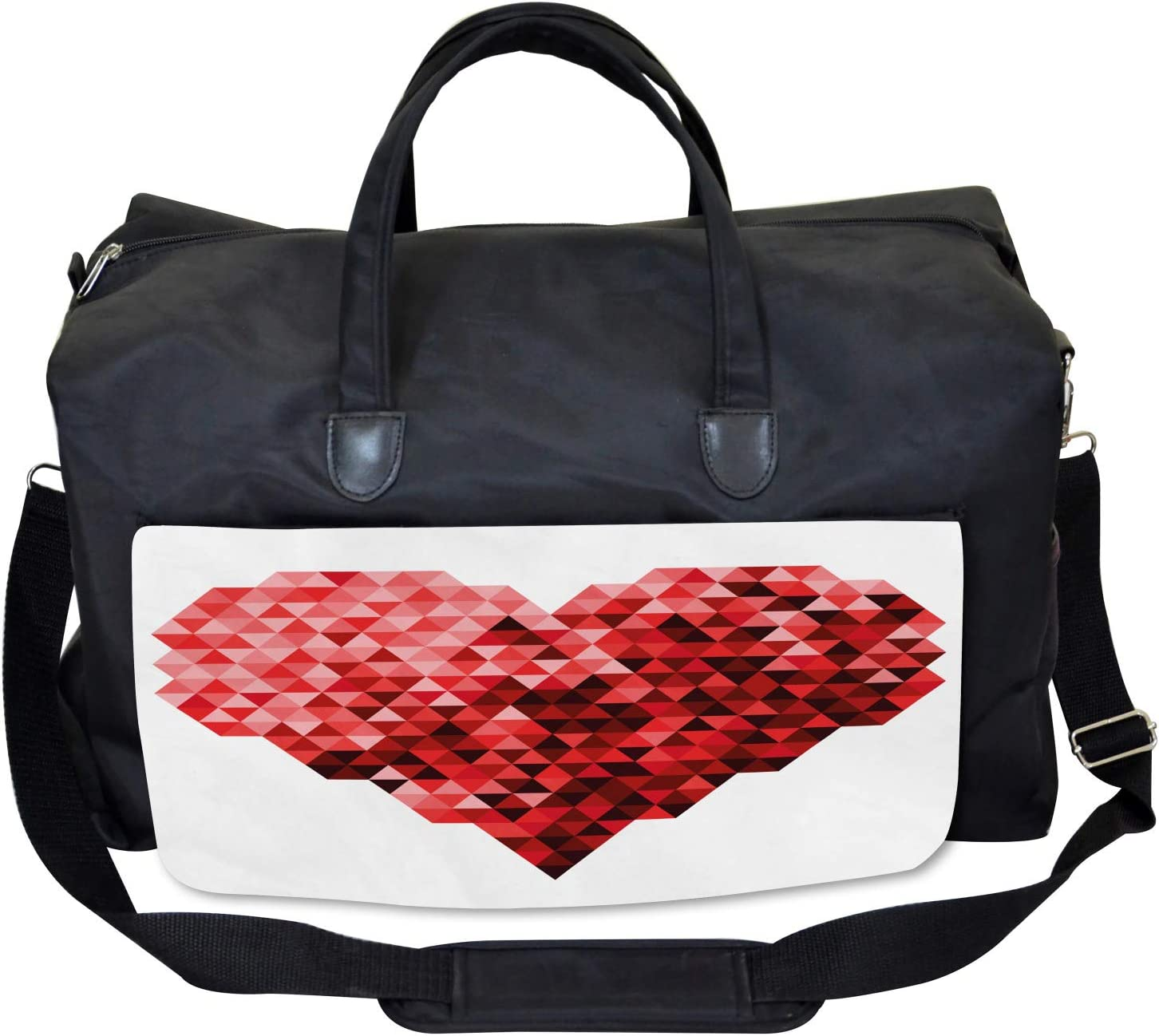 Ambesonne Burgundy Gym Bag Large Weekender Carry-on Future Modern Heart