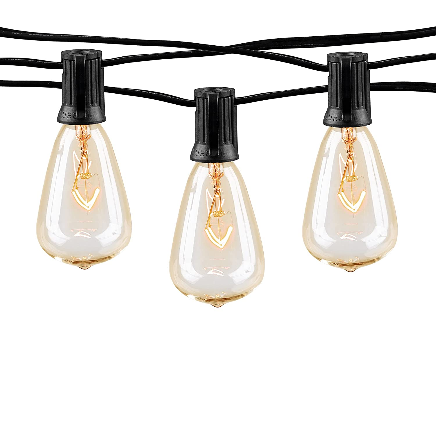 10Ft Outdoor Patio String Lights with 10 Clear ST38 Bulbs UL Listed C7 Light String for Garden Backyard Deckyard Party Pergola Bistro Porch Pool Umbrella ect Black Wire