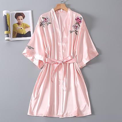 Wanglele Pijama De Seda Seda Verano Mujer Floja Batas Batas Bordadas Peony Bridesmaids Maquillaje Batas,