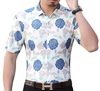 61e6813e Pivaconis Men's Floral Print Non-Iron Plus Size Formal Short Sleeve Button  Down Shirts 1