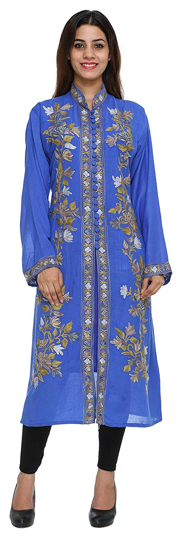 The MadhuSudan Gallery Kashmiri Women's Coat Jacket Crewel Hand Embroidered Chinar Work