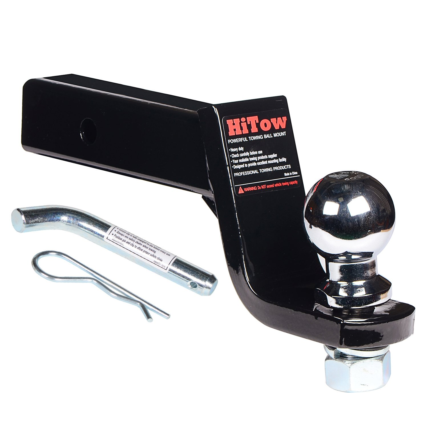 HiTow Trailer Hitch Loaded Ball Mount Class II 4'' Drop with 1-7/8'' Hitch Ball & 5/8'' Pin Kit (GTW 3,500 lbs) by HiTow